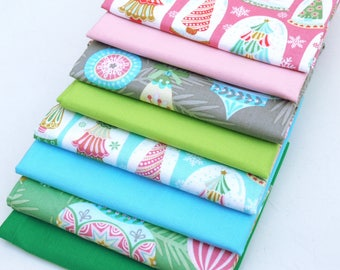COTTON FABRIC BUNDLE Vintage Noel - 8 x Fat Quarters of 100% premium cotton by Josephine Kimberling for Blend Fabrics / Stars by Makower