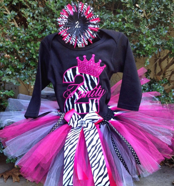 Pink Black Zebra 2nd Birthday Crown Outfit Onesie Tutu FREE