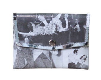 Snap coin purse using retro images - FREE SHIPPING - vegan wallet, vegan gift, upcycled coin purse