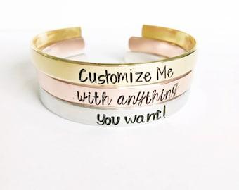 Custom Bracelet - Personalized Bracelet Cuff - Best Friend Gift - Personalized Mother's Day Gift - Message Jewelry - Custom Jewelry