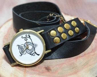 Owl Watch, Leather Wrap Watch, Black Leather Watch, Wrap Around Watch, Watches For Women, Quartz Watch Womens, Boho Accessories, Boho Chic