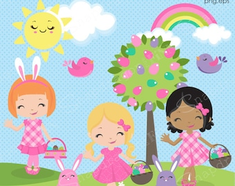 Easter Clipart, Easter girls clipart, Easter Clip Art, Easter Egg Hunt clipart, Easter graphics, Spring, Commercial License Included