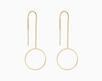 Circle threader earrings - Ear threaders - Chain earrings - Gold threader earrings -Long chain earrings - Gold ear threaders-Dainty earrings