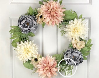 Spring Wreath, Blush Wreath, Peony Wreath, Front Door Wreath, Year Round Wreath, Summer Wreath, Wreath Street Floral, All Occasion Wreath