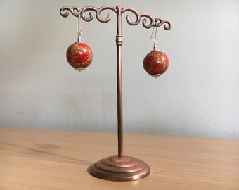 Oriental Style Wood Bead earrings