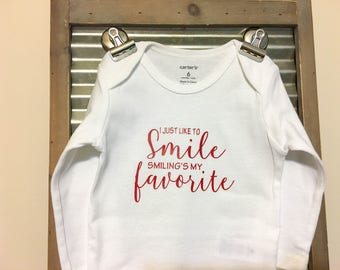 I Just Like to Smile Smiling's My Favorite Elf Inspired Baby Bodysuit - Christmas Infant Bodysuit - Great outfit for Christmas!