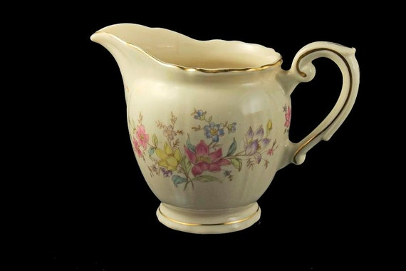 Footed Creamer, Syracuse China, Briarcliff, Federal Shape, Floral Pattern, Made in America, Gold Trimmed, Ivory Colored, Jug