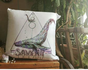 Save the ocean pillow, watercolour whale design, bedding pillow throw, beach theme bedroom, save whales