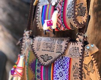 mommy & me set cross-body bag W/Llama Charm Peruvian Incan Native Patterned Shoulder Bag, Bohemian.
