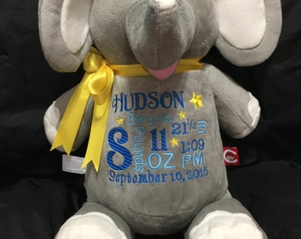 Personalized stuffed animal baby gift, shower gift, announcement,monogrammed, information, photo prop, plush elephant, customized gift