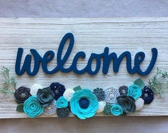 Wood Plank Distressed Farmhouse Decor Welcome Home Sign Front Door Decor Felt Flowers Blues Whites Grays