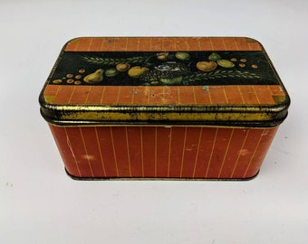 Vintage Rectangle Tin Can Container Fruit Motif Graphics by Canco