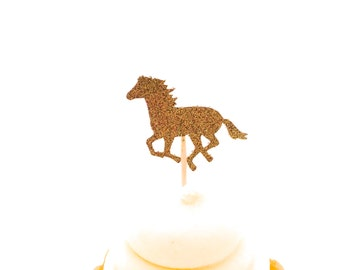 24 Gold Glitter Horse Cupcake Toppers