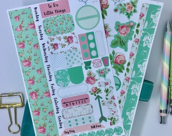 Shabby chic personal size planner stickers,  floral A5 planner kit, weekly personal olanner kit, weekly planner
