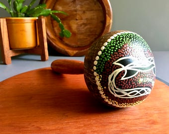 Vintage Australian Handpainted Decorative Maraca with Aged Wood Handle - Vintage Musical Instruments / Decor