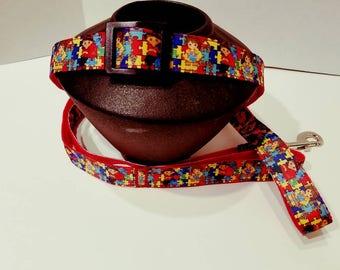 Autism - Dog collar, Puzzle piece dog collar, Autism awareness dog collar, Autism decor, Dog supplies, Autism dog leash