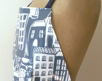 Blue & White Quayside Houses PVC / Oilcloth Apron - Full Length Adult Apron - Wipe Clean Waterproof Apron - Coastal, waterside