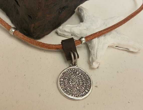 Men Coin Necklace, Old Coin Pendant, Phaistos Disc, Greek Coin Necklace, Coin Jewelry, Man Leather Necklace, Men  Pendant