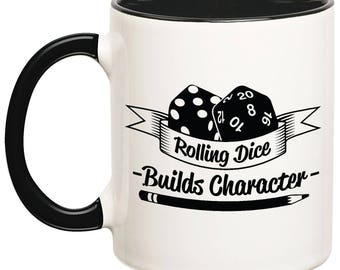 Builds Character Mug, Dungeons and Dragons Mug, DnD Mugs, Dice Mugs, Role Playing Mugs, RPG Mugs, Dungeons and Dragons Gift Ideas, Gamer Mug