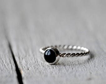 Sterling Silver Onyx Stacking Ring, patterned, rope, stackable 6mm cabochon, Made To Order