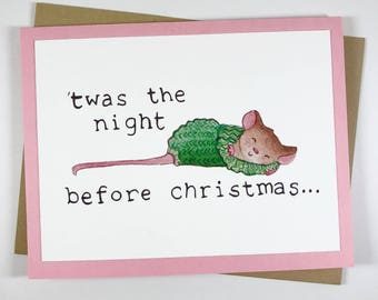 Handmade greeting card, all profits to charity, christmas card, holiday card, mouse illustration, watercolor card, non profit