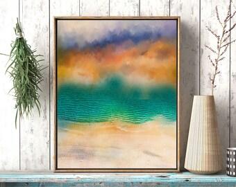 Ocean wave wall art, Abstract coastal art,  wave art print, blue teal Aqua Abstract, art print, abstract Ocean artwork, Ocean printable