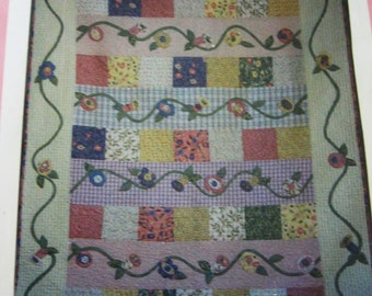 "Patchwork Vines Quilt 52.5 x 69.5"" Sewing Pattern Uncut UC Quilting"