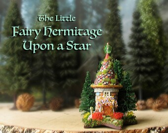 The Little Fairy Hermitage Upon a Star - N Scale Miniature Round Cottage w/ Mossy Tile Roof, Arched Door and Blooming Flower Boxes
