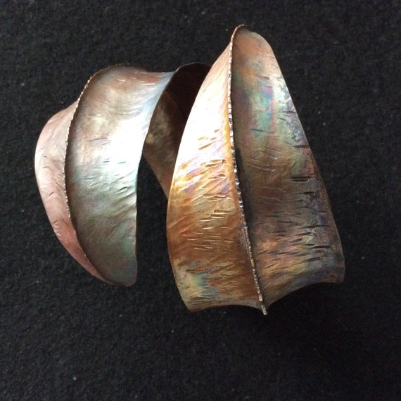 Fold formed copper cuff adjustable size