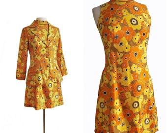 Vintage 60s floral silk dress & blazer set/ 1960s vibrant dress suit/ cheerful yellow orange mustard flowers/ 70s flower power/ psychedelic