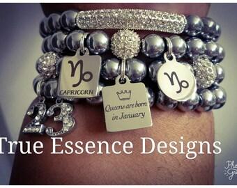 Capricorn Zodiac Bracelet made w/Hematite (4) Bracelets