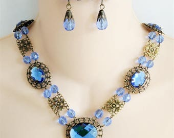 Renaissance Necklace, Earrings, Medieval Necklace, Tudor, Medieval Jewelry, Renaissance Jewelry, Game of Thrones, Sapphire, Ready 2 Ship