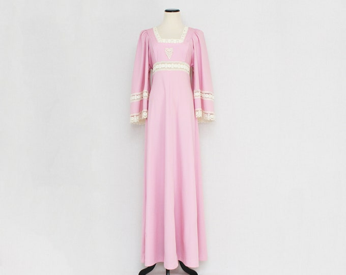 Vintage 1970s Pink Boho Butterfly Sleeve Maxi Dress- Size Small