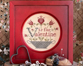 V is for Valentine... The Alphabet Series #7 : Cross Stitch Pattern by Heartstring Samplery