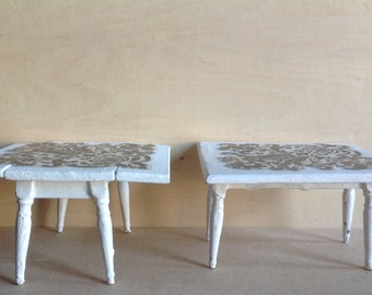 2 Dollhouse Decorated Miniature Tables