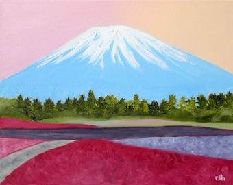 Mount Fuji Painting, 14 x 11, Oil Painting, Original Art, Japan Painting, Landscape Painting, Sunset painting, Fujiyama Art, Mountain Art