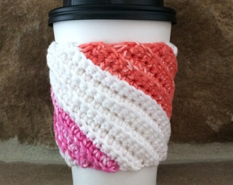 Crocheted Coffee Cup Cozy - Cup Sleeve  in Pink and Gray