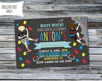 Boys Rock Climbing Invitation / Rock Climbing Birthday Invitation / Climbing Invitation (Personalized) 6x4 Digital Printable File
