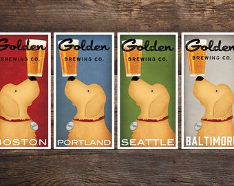 Personalize Your City GOLDEN RETRIEVER Brewing Company Craft Beer Print  Signed