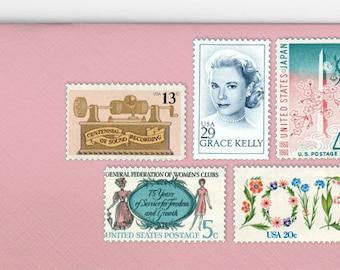 Posts (5) 2 oz wedding invitations - Feminine blush pink unused vintage postage stamp sets (2 ounce 71 cent rate)
