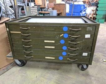 Antique 11 drawer hamilton flat file printers cabinet hamilton flat file 6 drawer malvernweather Images