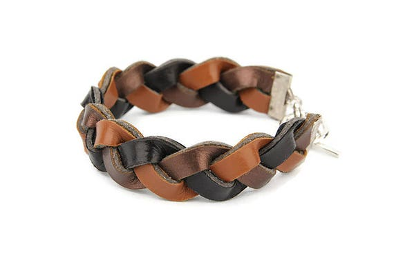 Plaited bracelet for woman from brown recycled artificial, faux leather in Western country style