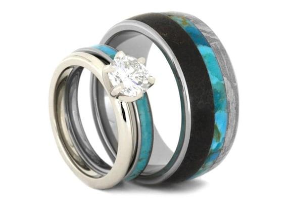 Turquoise Wedding Ring Set Diamond Engagement And Turquoise