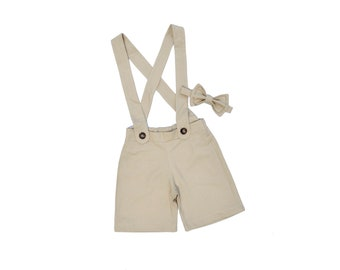 Tan baby suspender shorts- ring bearer outfit, shorts overalls- suspenders shorts- baby wedding outfit- shortalls- beach wedding, beach