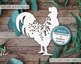 Rooster Silhouette - Clipart & Cut File - Hand Papercutting - Cricut / Silhouette - SVG DXF PNG Pdf Jpg - Kids Children Nursery