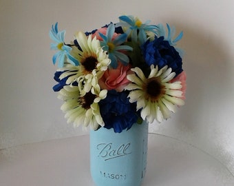 Blue Painted Quart Mason Jar with Blue, White, and Pink Flowers, Hand Painted with Chalk Paint, Flower Vase, Flower Arrangement