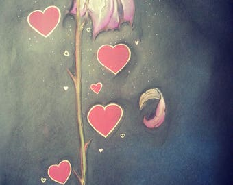Heart & Rose Chalk Drawing.
