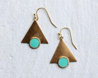 Turquoise Triangle Earrings ... Boho Enamel Geometric