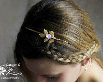 Serre-tête headband mariage feuilles dorées et cristal, accessoires coiffures, bijoux - Bridal headband gold leafs and Swarovski Elements