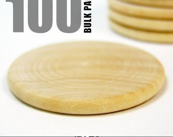 100 Round 1.5 Inch Craft Wood Disks for Pendants, Magnets, Scrapbooking, and More. Bulk Lot.